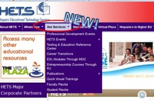 "New ""Our Services"" menu at www.hets.org"