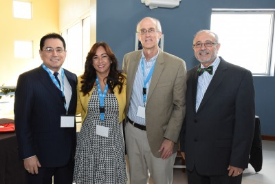 From left to right: Manuel Fernós, Esq., HETS Chairman & President UIPR; Yubelkys Montalvo HETS Executive Director; John Sener, keynote speaker, and Alberto Maldonado, Esq., Chancellor, UNE Carolina.