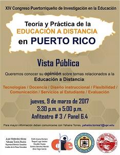 Invitación a Vista Pública sobre temas de Educación a Distancia (9 de marzo de 2017)