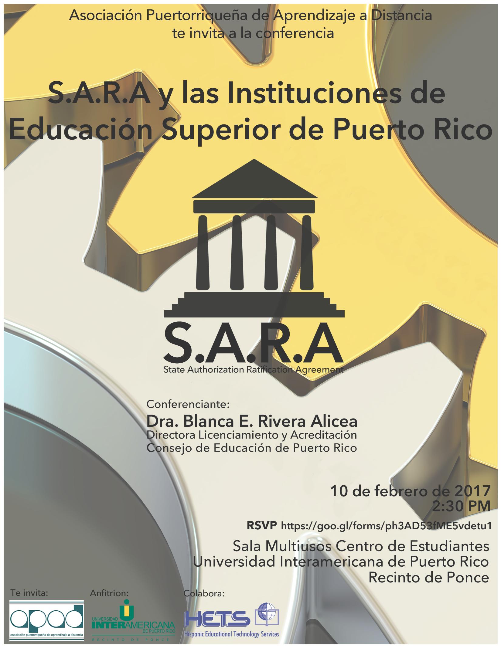 Conferencia: S.A.R.A y las Instituciones de Educación Superior en Puerto Rico