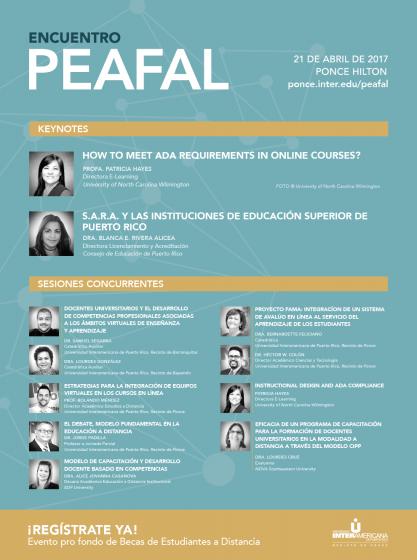 PEAFAL 2017 ponencias