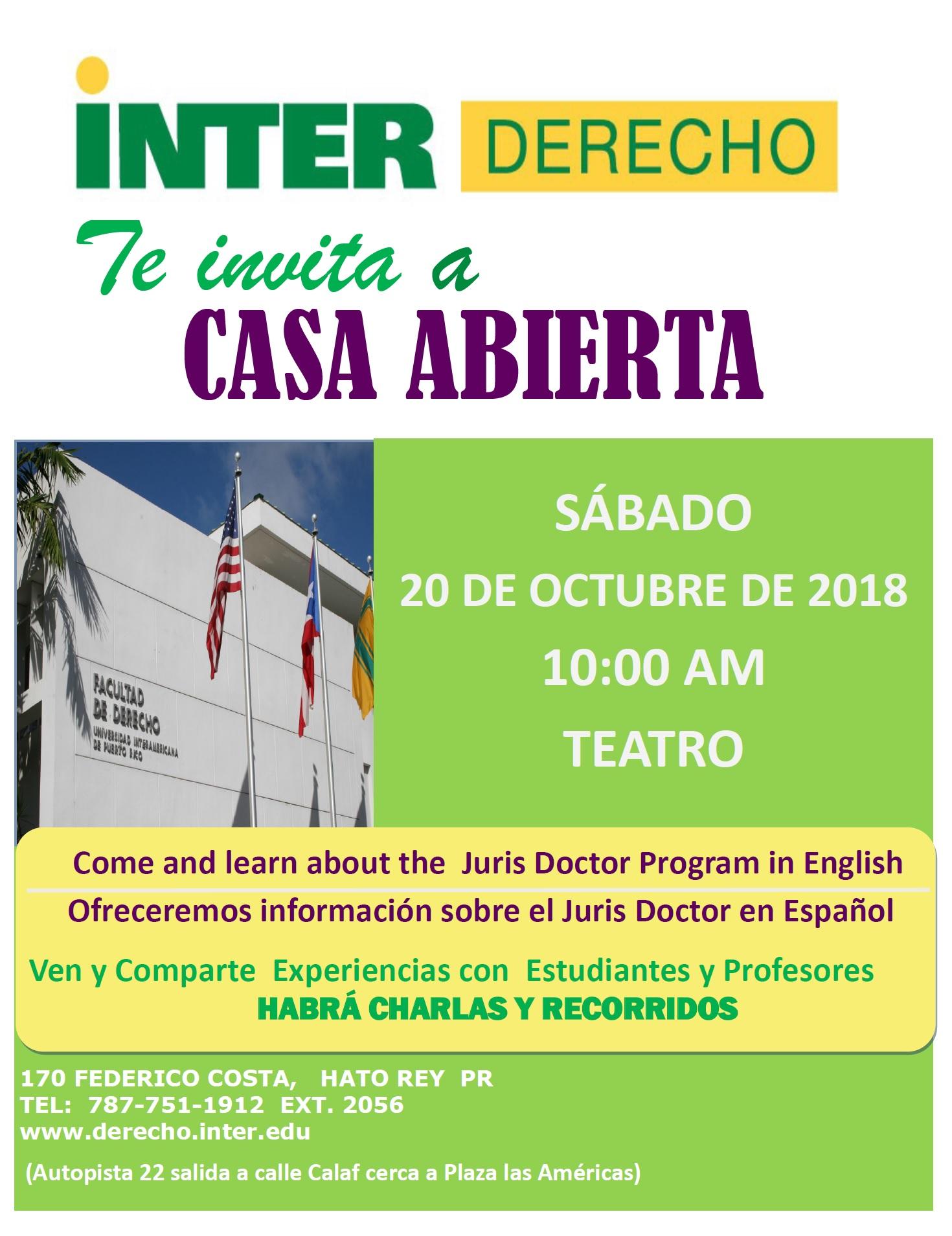 Inter Derecho te invita a su Casa Abierta (20 de octubre)